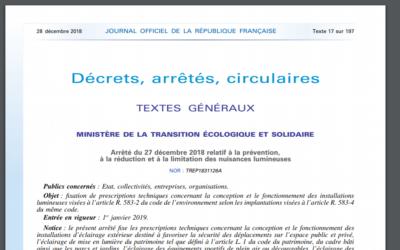 Arrêté du 27 décembre 2018 relatif à la prévention, à la réduction et à la limitation des nuisances lumineuses