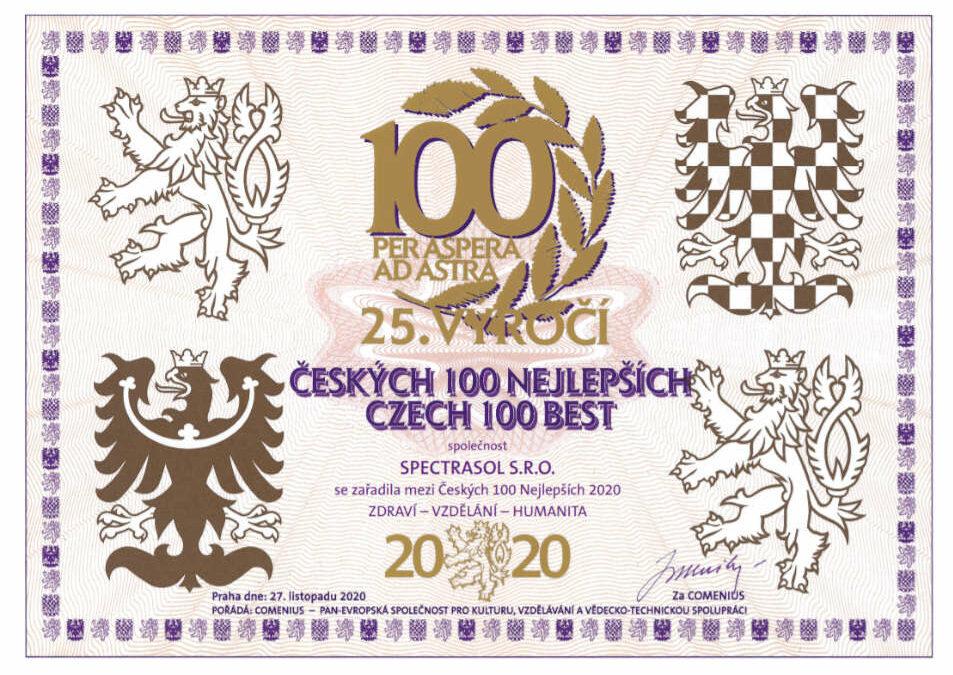 Umístění Spectrasol mezi 100 nejlepších českých firem 2020