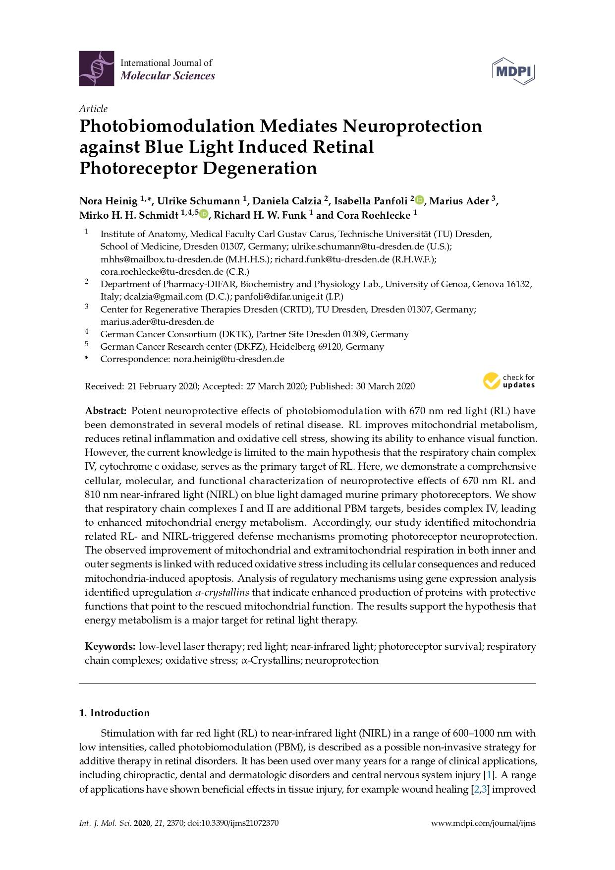 2020 Photobiomodulation Mediates Neuroprotection against Blue Light Induced Retinal Photoreceptor Degeneration