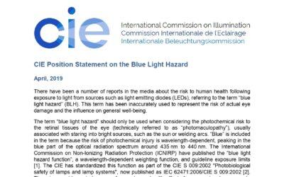Stanovisko CIE (International Commission of Illumination) k rizikům blue light hazard efektu  LED osvětlení (Harmful blue light).